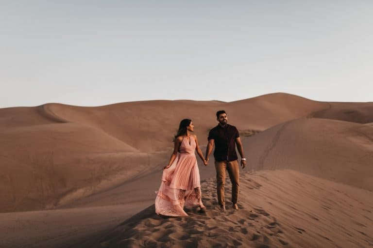 Great sand dunes Colorado sunrise engagement session