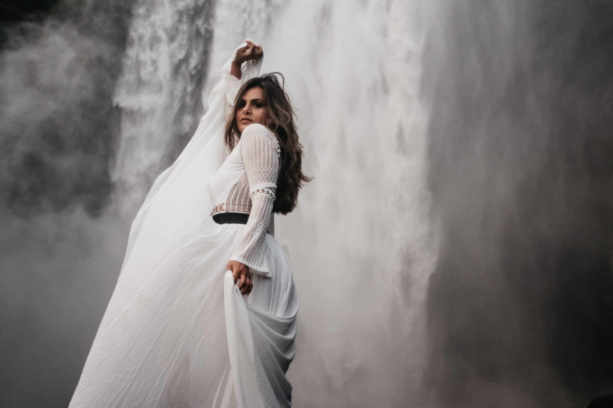 bridal session at Skofagoss waterfall in Iceland
