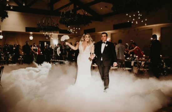 bride and groom make their wedding grand entrance over a cloud of fog as their guests stand and welcome them