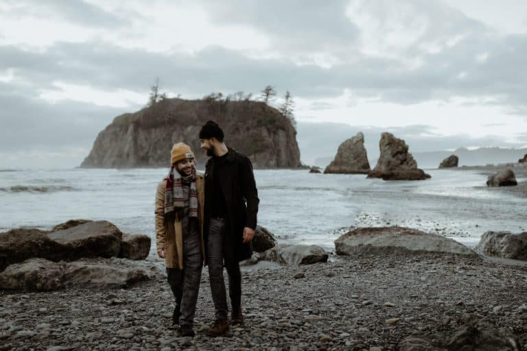 Couples session at Ruby Beach in Washington